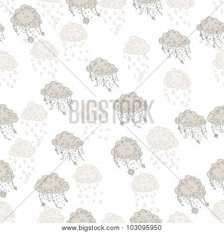 Clouds with pendants and ornaments, vector seamless pattern