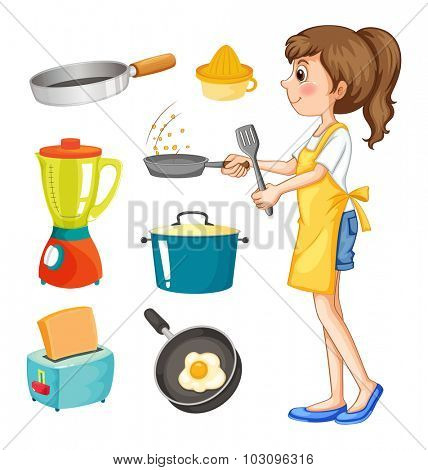 Woman cooking and other kitchen objects illustration
