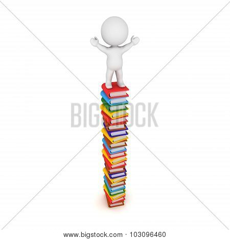 3D Character Standing With Arms Raised On Tall Stack Of Books