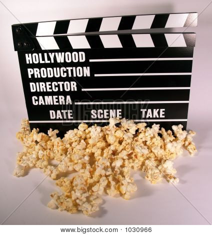 Movie Clap Board And Popcorn