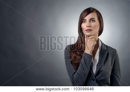 Thoughtful Serious Businesswoman