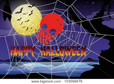 Halloween theme with spider web and skull illustration