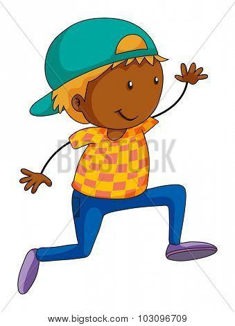 Boy doing hip hop dancing illustration