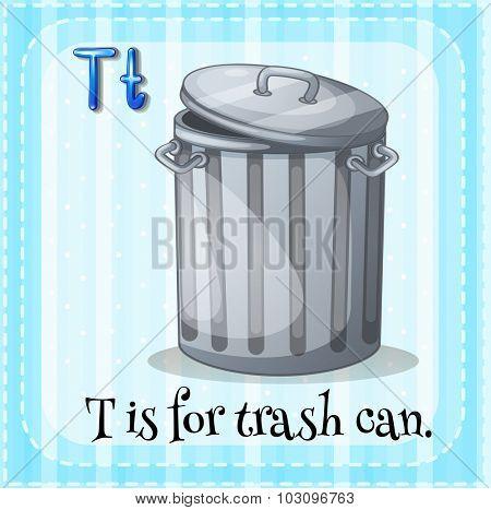 Flashcard letter T is for trashcan illustration