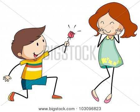 Boy giving flower to girlfriend illustration