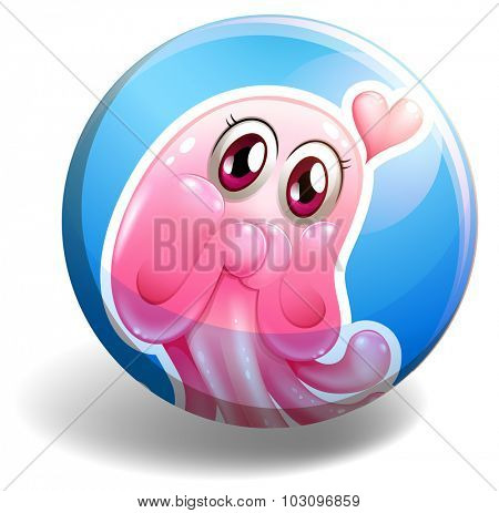 Pink creature on round badge illustration