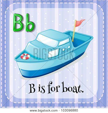 Flashcard letter B is for boat illustration