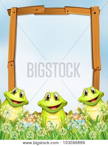 Wooden frame with frogs background illustration