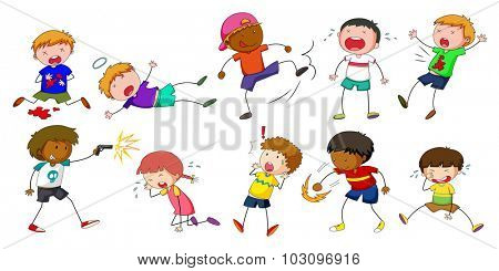 Boys doing different activities illustration