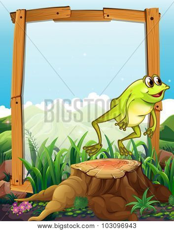 Wooden frame with frog jumping background illustration