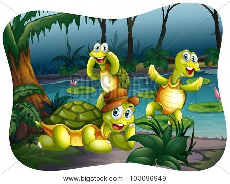 Three turtles living by the pond illustration