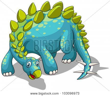 Blue dinosaur with spikes tail illustration