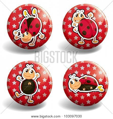 Ladybug on red badges illustration