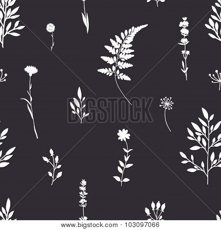 Retro seamless pattern with flowers