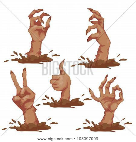 Set of zombie hands for Halloween Party. Vector illustration