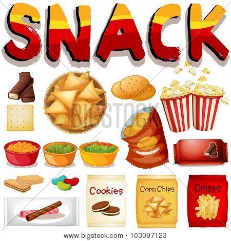 Different kind of snack illustration