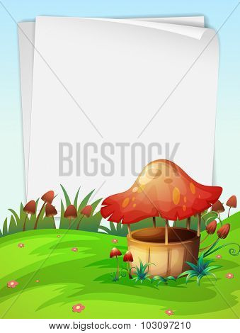 Blank paper with mushroom background illustration