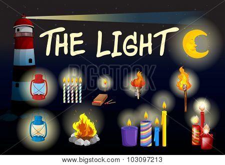 Different kind of lights illustration