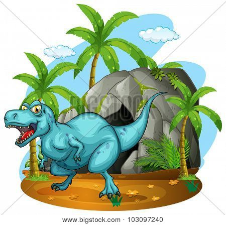 Dinosaur living in the cave illustration