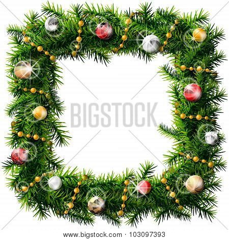 Christmas Square Wreath With Decorative Beads And Balls