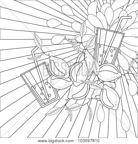 Coloring book page lemons and juice
