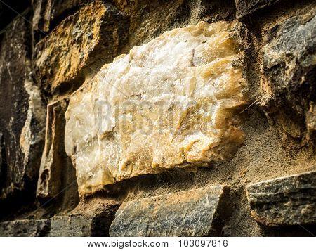 Closeup of Quartz in Old Stone Wall