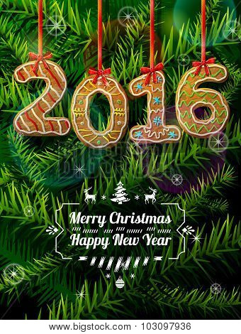 New Year 2016 In Shape Of Gingerbread Against Pine Branches