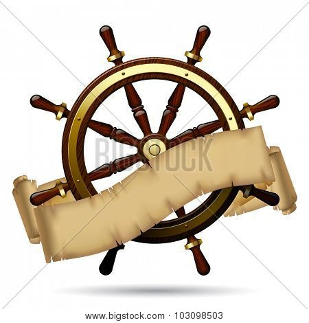 Vintage steering wheel with a parchment on the white background. Navigation symbol
