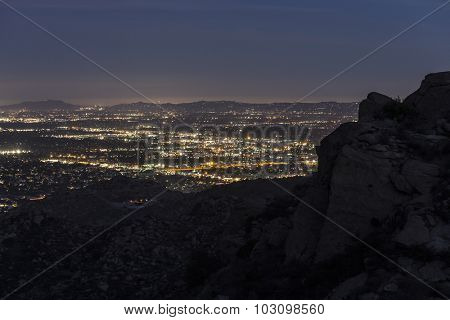 Los Angeles mountain view of the San Fernando Valley from the rugged rock formations in Rocky Peak Park.