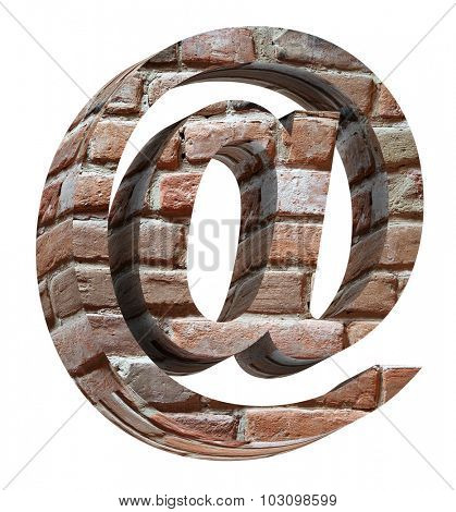 E-mail sign from old brick alphabet set isolated over white. Computer generated 3D photo rendering.