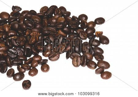 coffee beans scattered on white background