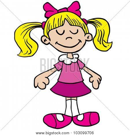 little girl in pink dress cartoon illustration