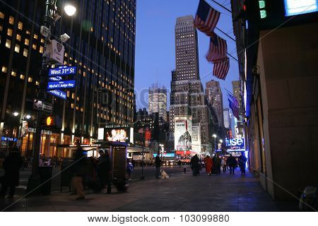 New York City - Dec 31: Nighttime In Ny Features With Madison Square Garden  Is A Symbol Of New York
