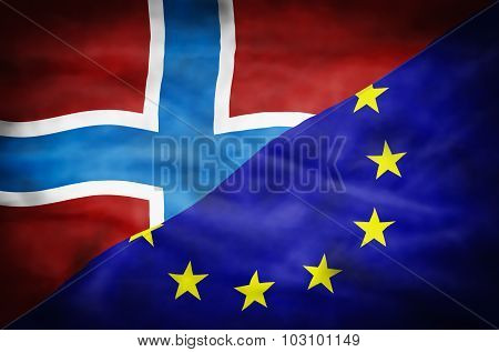 Norway and European Union mixed flag.