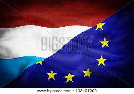 Luxembourg and European Union mixed flag.