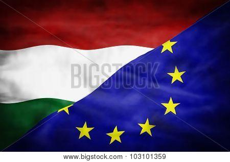 Hungary and European Union mixed flag.