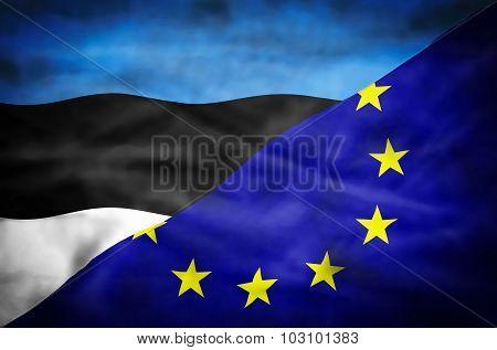 Estonia and European Union mixed flag.
