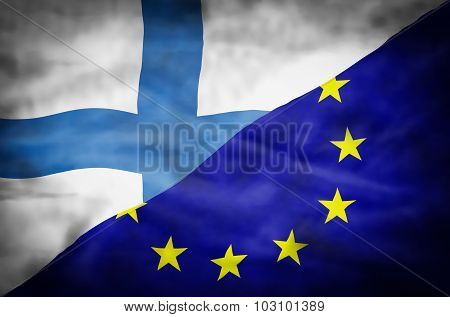 Finland and European Union mixed flag.
