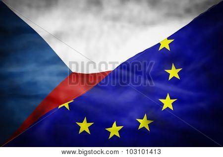 Czech Republic and European Union mixed flag.