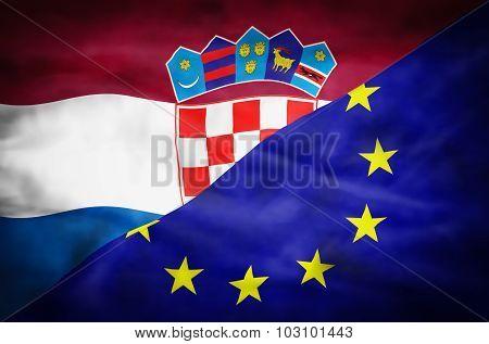 Croatia and European Union mixed flag.