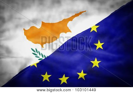 Cyprus and European Union mixed flag.