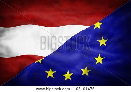 Austria and European Union mixed flag.
