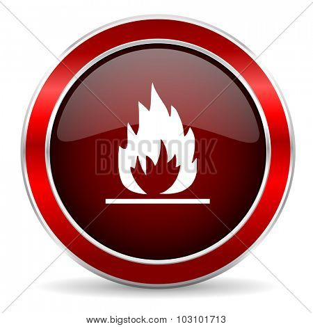 flame red circle glossy web icon, round button with metallic border
