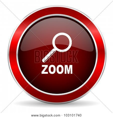 zoom red circle glossy web icon, round button with metallic border