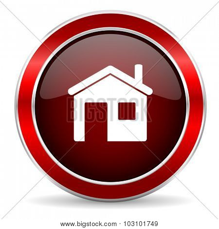 house red circle glossy web icon, round button with metallic border