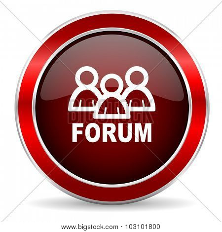 forum red circle glossy web icon, round button with metallic border