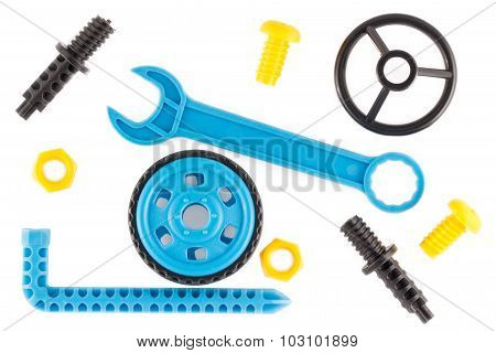 Wrench steering wheel wheel bolts and nuts - Parts of childrens educational plastic designer