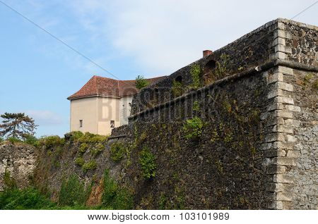 Fortified Wall And Tower Of Medieval Uzhhorod Fortress,Western Ukraine