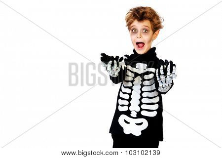 Portrait of a boy in a costume of skeleton. Halloween party. Isolated over white.