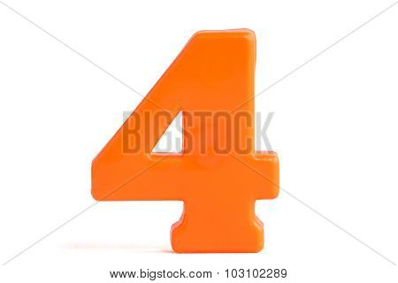 Number Four Made Of Plastic